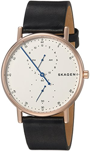 スカーゲン 腕時計 メンズ SKW6390 Skagen Men's Signatur Stainless Steel Analog-Quartz Watch with Leather Calfskin Strap, Black, 20 (Model: SKW6390)スカーゲン 腕時計 メンズ SKW6390