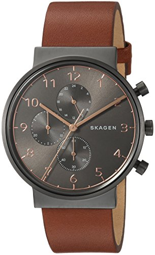 スカーゲン 腕時計 メンズ SKW6418 Skagen Men's Ancher Quartz Stainless Steel and Leather Chronograph Watch, Color: Grey, Brown (Model: SKW6418)スカーゲン 腕時計 メンズ SKW6418