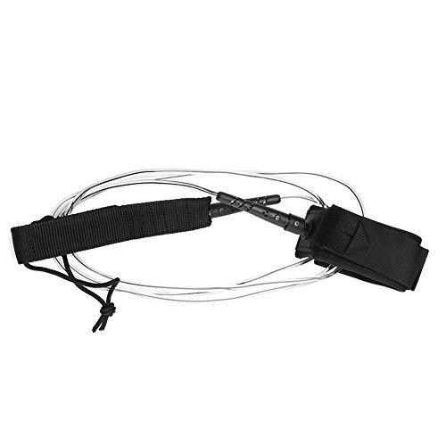 サーフィン リーシュコード マリンスポーツ 2pcs Surfboard Leashes, Surf Leash With Hook and Loop Closure Metal Double Swivels TPU 6ft 5.5mm For Standup Paddle Leash Accessories (Black Transparent)サーフィン リーシュコード マリンスポーツ
