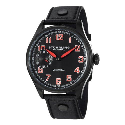 ストゥーリングオリジナル 腕時計 メンズ 457.335575 Stuhrling Original Men's Aviator Mechanical Hand Wind 457.335575 Black Leather Casual Watchストゥーリングオリジナル 腕時計 メンズ 457.335575