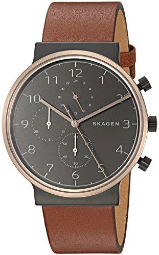 スカーゲン 腕時計 メンズ SKW6400 【送料無料】Skagen Men's Ancher Stainless Steel Analog-Quartz Watch with Leather Calfskin Strap, Brown, 20 (Model: SKW6400)スカーゲン 腕時計 メンズ SKW6400
