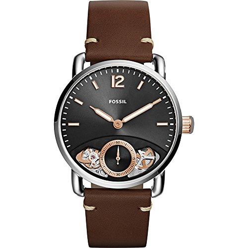 フォッシル 腕時計 メンズ ME1165 Fossil Men's The Commuter Twist Stainless Steel Quartz Watch with Leather Calfskin Strap, Brown, 22 (Model: ME1165)フォッシル 腕時計 メンズ ME1165