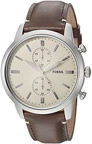 フォッシル 腕時計 メンズ FS5350 【送料無料】Fossil Men's 44mm Townsman Stainless Steel Quartz Watch with Leather Calfskin Strap, Brown, 22 (Model: FS5350)フォッシル 腕時計 メンズ FS5350