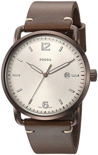 フォッシル 腕時計 メンズ FS5341 Fossil Men's The Commuter 3H Date Stainless Steel Quartz Watch with Leather Calfskin Strap, Brown, 22 (Model: FS5341)フォッシル 腕時計 メンズ FS5341