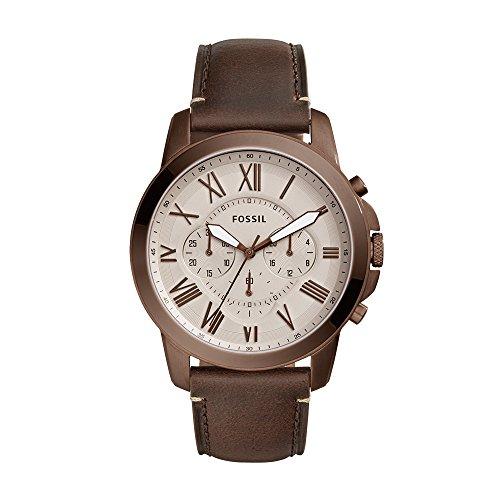 フォッシル 腕時計 メンズ FS5344 【送料無料】Fossil Men's Grant Stainless Steel Quartz Watch with Leather Calfskin Strap, Brown, 22 (Model: FS5344)フォッシル 腕時計 メンズ FS5344
