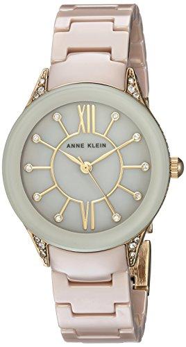 腕時計 アンクライン レディース AK/2388TNGB 【送料無料】Anne Klein Women's AK/2388TNGB Swarovski Crystal Accented Gold-Tone and Tan Ceramic Bracelet Watch腕時計 アンクライン レディース AK/2388TNGB