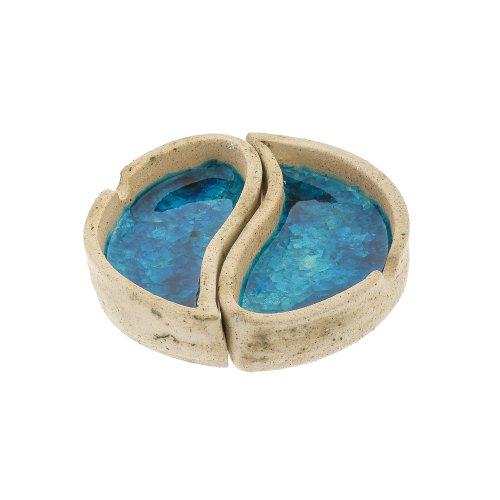 【新品】 灰皿 Diameter 海外モデル アメリカ Yan 海外モデル 輸入物 EliteCrafters Handmade Round Ceramic & Blue Glass Ashtray, Yin Yan Design, 2 Sections- 2 Pieces, Diameter 13cm (5.1