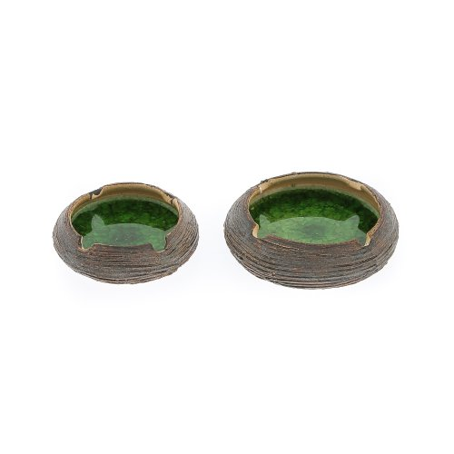 【超目玉】 灰皿 12cm 海外モデル アメリカ 輸入物 EliteCrafters 灰皿 Handmade Round Ceramic & 輸入物 Green Glass Ashtray Set of 2, Small & Medium, Diameter 10cm (3.9'') & 12cm (4.7