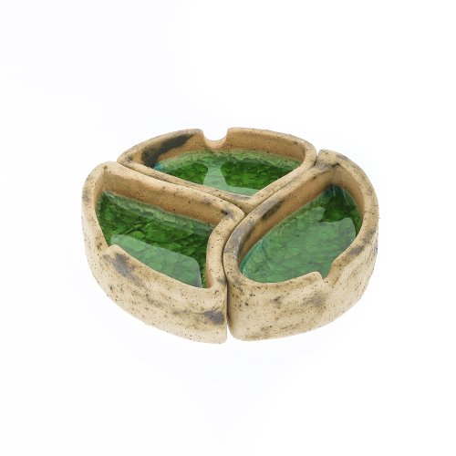 灰皿 海外モデル アメリカ 輸入物 【送料無料】EliteCrafters Handmade Round Ceramic & Green Glass Ashtray, 3 Sections - 3 Pieces, Diameter 13cm (5.1