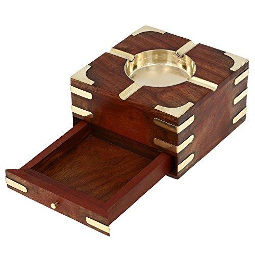 MN-ashtray_2_wc001 MN-ashtray_2_wc001 アメリカ 灰皿 Box灰皿 アメリカ 海外モデル ShalinIndia - Brass Metal Ashtray With Cigarette Storage Case Wooden 輸入物 輸入物 海外モデル