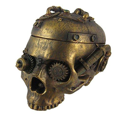 灰皿 海外モデル アメリカ 輸入物 8649 【送料無料】Steampunk Skull Ashtray Trinket Box with Lid Statue灰皿 海外モデル アメリカ 輸入物 8649