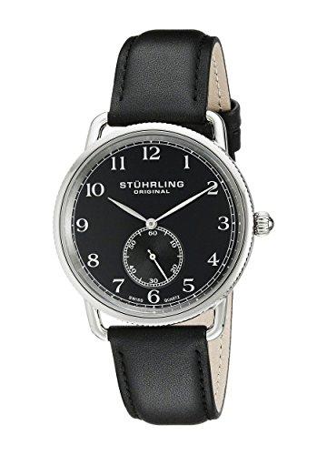 ストゥーリングオリジナル 腕時計 メンズ 207.02 Stuhrling Original Men's 207.02 Classic Cuvette Swiss Quartz Black Leather Strap Watchストゥーリングオリジナル 腕時計 メンズ 207.02
