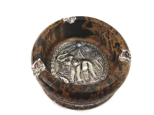 灰皿 海外モデル アメリカ 輸入物 【送料無料】Elephant Ashtray New Thai Carved Handicraft Style Mango Wood with Elephant Silver Plated Ashtray灰皿 海外モデル アメリカ 輸入物