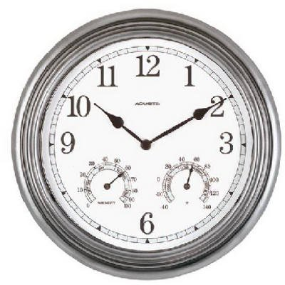 壁掛け時計 インテリア インテリア 海外モデル アメリカ 【送料無料】Indoor Outdoor Pewter Clock Thermometer Hygrometer壁掛け時計 インテリア インテリア 海外モデル アメリカ