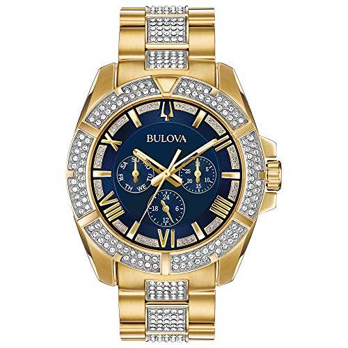 ブローバ 腕時計 メンズ 98C128 Bulova Men's Swarovski Crystal Quartz Watch with Two-Tone-Stainless-Steel Strap, 22 (Model: 98C128ブローバ 腕時計 メンズ 98C128