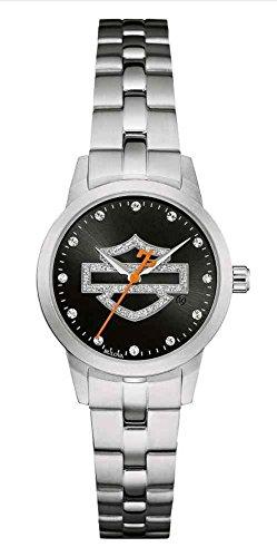 ブローバ 腕時計 レディース 76L182 【送料無料】Harley-Davidson Women's Glitter Open Bar & Shield Watch, Stainless Steel 76L182ブローバ 腕時計 レディース 76L182