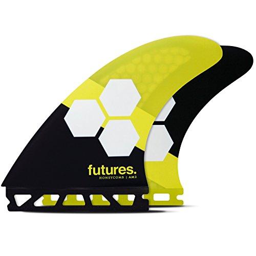サーフィン フィン マリンスポーツ Futures Fins - AM2 HC Thruster - Yellow/Blackサーフィン フィン マリンスポーツ