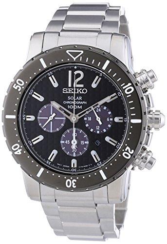 セイコー 腕時計 メンズ Solar Seiko Solar Quartz Chronograph Black Dial Stainless Steel Mens Watch SSC245セイコー 腕時計 メンズ Solar
