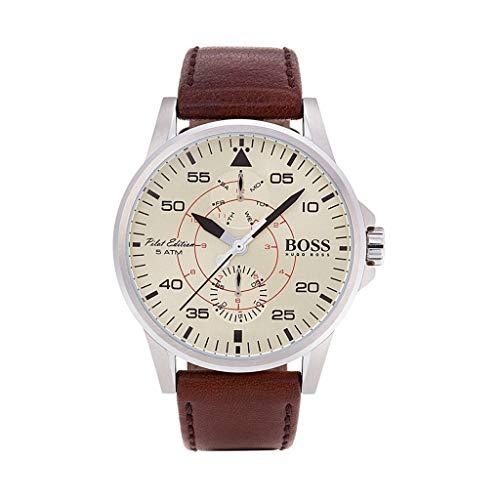 ヒューゴボス 高級腕時計 メンズ 【送料無料】Hugo Boss Men's Aviator Watch 1513516 Brown 44mm Stainless Steelヒューゴボス 高級腕時計 メンズ