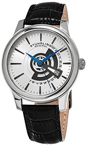 腕時計 ストゥーリングオリジナル メンズ 787.01 【送料無料】Stuhrling Original Men's 787.01 Symphony Quartz Date Leather Strap Black Watch腕時計 ストゥーリングオリジナル メンズ 787.01