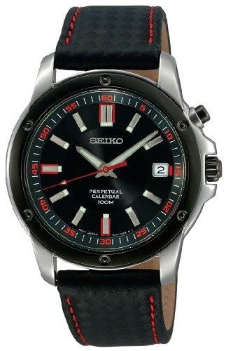 セイコー 腕時計 メンズ SNQ097 Seiko Men's SNQ097 Perpetual Calendar Black Ion Finish Black Bezel Strap Watchセイコー 腕時計 メンズ SNQ097