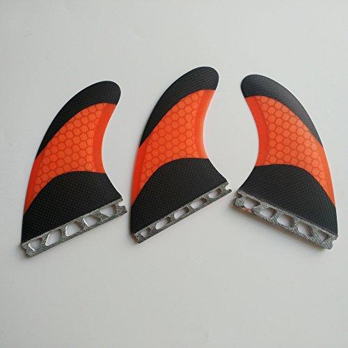 サーフィン フィン マリンスポーツ UPSURF Surfboard Tri Future Fin L Size Carbon+Fiberglass+Honeycomb G7 (Orange/Green/White) (Orange)サーフィン フィン マリンスポーツ