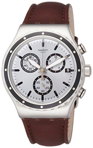 スウォッチ 腕時計 メンズ YVS437 Swatch Grandino Silver Dial Mens Chronograph Leather Watch YVS437スウォッチ 腕時計 メンズ YVS437