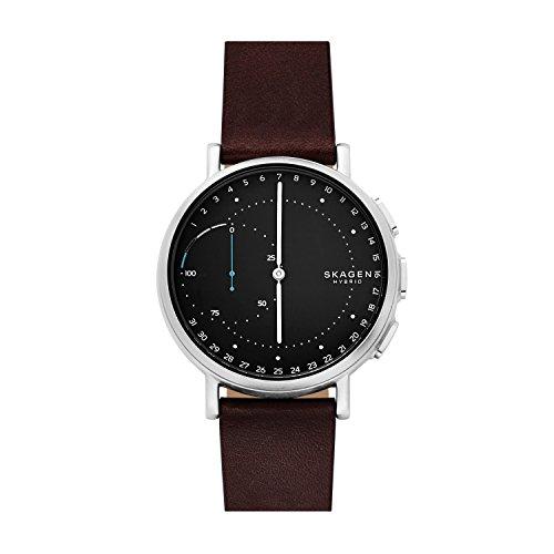 スカーゲン 腕時計 メンズ SKT1111 Skagen Connected Men's Signatur Stainless Steel and Leather Hybrid Smartwatch, Color: Silver-Tone, Dark Brown (Model: SKT1111)スカーゲン 腕時計 メンズ SKT1111