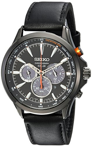 セイコー 腕時計 メンズ SSC639 【送料無料】Seiko Men's Solar Chronograph Stainless Steel Japanese-Quartz Watch with Leather Calfskin Strap, Black, 22 (Model: SSC639)セイコー 腕時計 メンズ SSC639