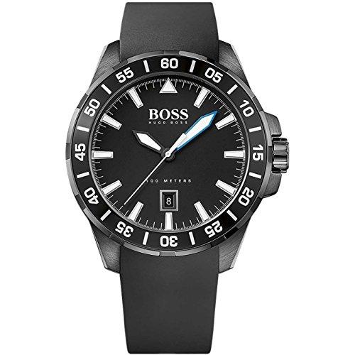 ヒューゴボス 高級腕時計 メンズ 1513229 Hugo Boss Ocean Deep Black Silicone Quartz Analog Men's Watch 1513229ヒューゴボス 高級腕時計 メンズ 1513229