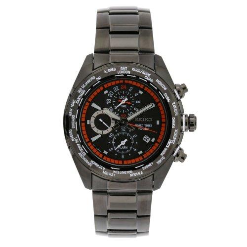 腕時計 セイコー メンズ SPL037 【送料無料】Seiko Men's SPL037 World Timer Stainless Steel Chronograph Black Dial Watch腕時計 セイコー メンズ SPL037
