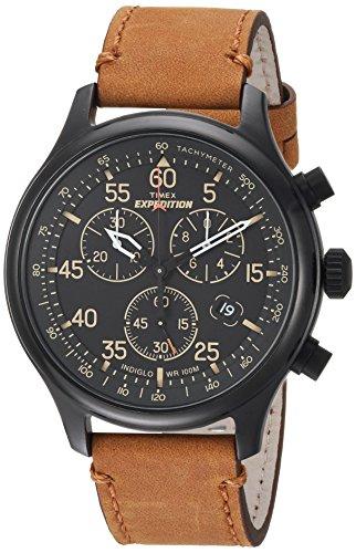 タイメックス 腕時計 メンズ TW4B12300 Timex Men's TW4B12300 Expedition Rugged Field Chronograph Tan/Black Leather Strap Watchタイメックス 腕時計 メンズ TW4B12300