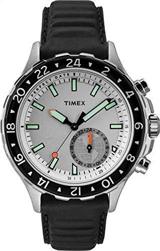 タイメックス 腕時計 メンズ TW2R39500 【送料無料】Timex Men's TW2R39500 IQ+ Move Multi Time Black/White Leather Strap Smartwatchタイメックス 腕時計 メンズ TW2R39500