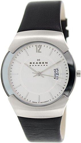 スカーゲン 腕時計 メンズ 981XLSLC 【送料無料】Skagen Silver Dial Stainless Steel Black Leather Mens Watch 981XLSLCスカーゲン 腕時計 メンズ 981XLSLC