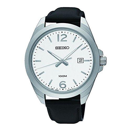 セイコー 腕時計 メンズ SUR213 【送料無料】Seiko Men's 42mm Black Leather Band Steel Case Hardlex Crystal Quartz White Dial Analog Watch SUR213セイコー 腕時計 メンズ SUR213