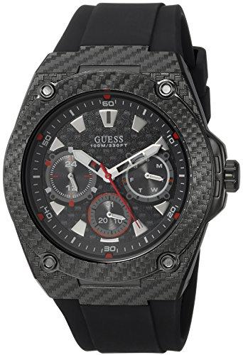 ゲス GUESS 腕時計 メンズ U1048G2 GUESS Comfortable Black Stain Resistant Silicone Watch with Day, Date + 24 Hour Military/Int'l Time. Color: Black (Model: U1048G2)ゲス GUESS 腕時計 メンズ U1048G2
