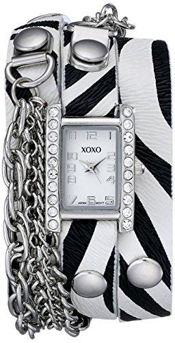 クスクス キスキス 腕時計 レディース XO5628 【送料無料】XOXO Women's XO5628 Zebra Patterned Band with Chains Accent Double Wrap Watchクスクス キスキス 腕時計 レディース XO5628