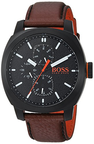 ヒューゴボス 高級腕時計 メンズ 1550028 HUGO BOSS Men's Cape Town Stainless Steel Quartz Watch with Leather Strap, Brown, 22 (Model: 1550028ヒューゴボス 高級腕時計 メンズ 1550028