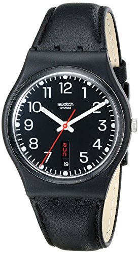 スウォッチ 腕時計 レディース GB750 【送料無料】Swatch GB750 Unisex Red Sunday Black Leather Strap Black Dial Quartz Watchスウォッチ 腕時計 レディース GB750