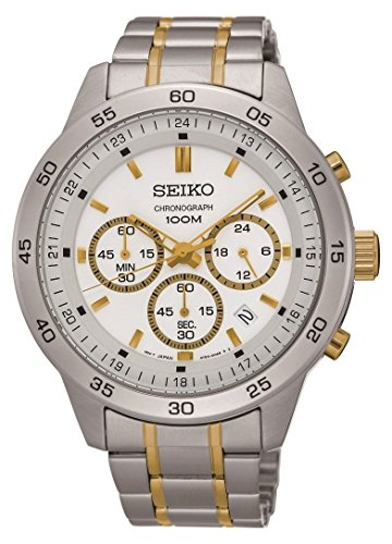 セイコー 腕時計 メンズ SKS523 【送料無料】Seiko #SKS523 Men's Two Tone Stainless Steel White Dial Casual Chronograph Sports Watchセイコー 腕時計 メンズ SKS523