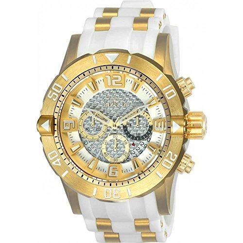 インヴィクタ インビクタ プロダイバー 腕時計 メンズ 23699 Invicta 23699 Men's Pro Diver Silver Dial Yellow Steel & White Polyurethane Strap Chrono Dive Watchインヴィクタ インビクタ プロダイバー 腕時計 メンズ 23699