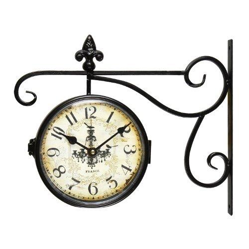 壁掛け時計 インテリア インテリア 海外モデル アメリカ CK0005 Adeco CK0005 Black Iron Vintage-Inspired Round Chandelier Double-Sided Wall Hanging Clock with Scroll Wall Mount Home Decor, Black壁掛け時計 インテリア インテリア 海外モデル アメリカ CK0005