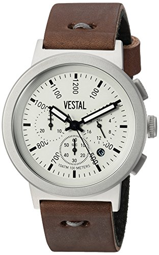 ベスタル ヴェスタル 腕時計 メンズ RETMAK003 【送料無料】Vestal Men's Retrofocus Chrono Makers Stainless Steel Japanese-Quartz Watch with Leather Calfskin Strap, Brown, 22 (Model: RETMAK003)ベスタル ヴェスタル 腕時計 メンズ RETMAK003