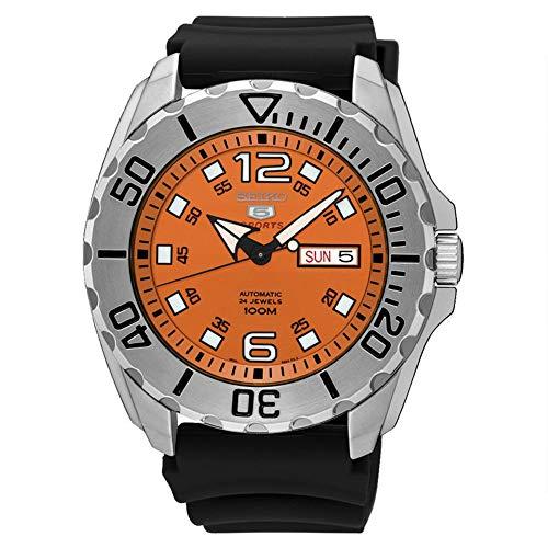 セイコー 腕時計 メンズ SRPB39K1 【送料無料】Seiko Men's Seiko 5 44mm Black Silicone Band Steel Case Automatic Orange Dial Analog Watch SRPB39K1セイコー 腕時計 メンズ SRPB39K1
