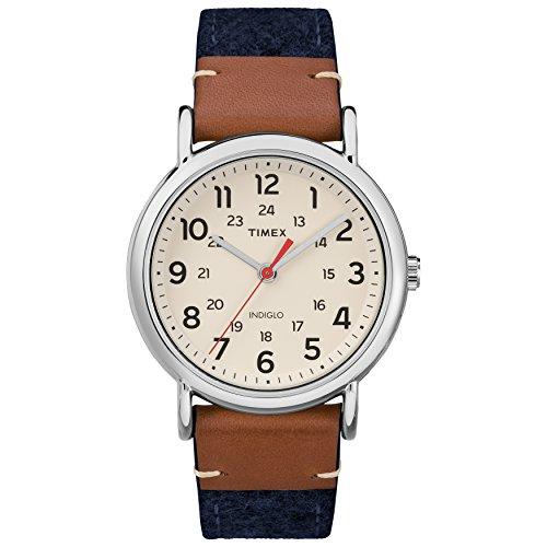タイメックス 腕時計 レディース TW2R42000 【送料無料】Timex Unisex TW2R42000 Weekender 38 Blue/Brown/Cream Fabric/Leather Strap Watchタイメックス 腕時計 レディース TW2R42000