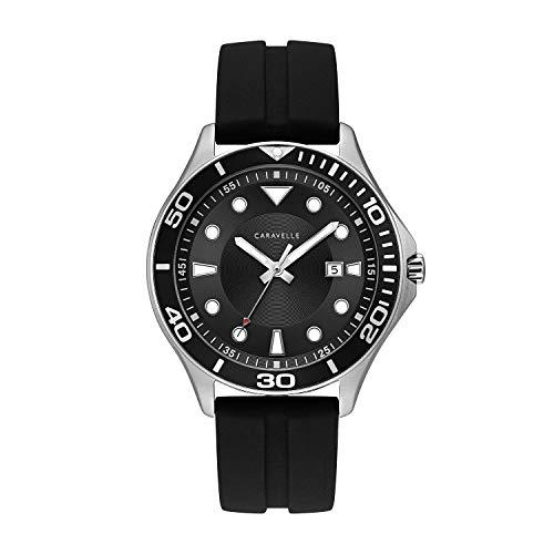 ブローバ 腕時計 メンズ 43B154 【送料無料】Caravelle Designed by Bulova Men's Stainless Steel Quartz Watch with Silicone Strap, Black, 22 (Model: 43B154)ブローバ 腕時計 メンズ 43B154