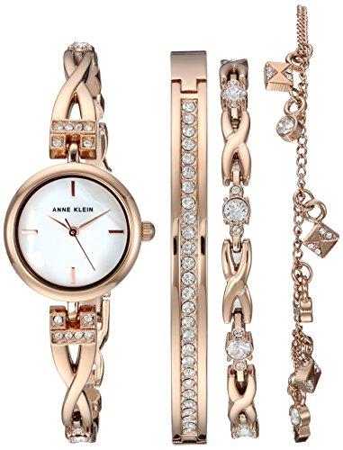 アンクライン 腕時計 レディース AK/3082RGST 【送料無料】Anne Klein Women's Swarovski Crystal Accented Rose Gold-Tone Watch and Bracelet Setアンクライン 腕時計 レディース AK/3082RGST