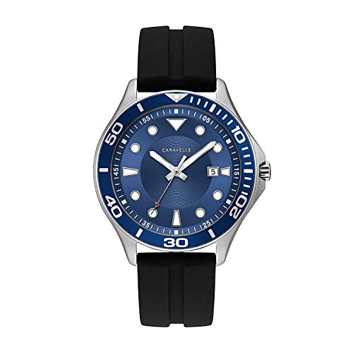 ブローバ 腕時計 メンズ 【送料無料】Caravelle Designed by Bulova Men's Stainless Steel Quartz Watch with Silicone Strap, Black, 18 (Model: 43B155)ブローバ 腕時計 メンズ