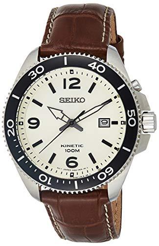 セイコー 腕時計 メンズ Kinetic 【送料無料】SEIKO Neo Sports SKA749P1 Man Silver Leather Calendarセイコー 腕時計 メンズ Kinetic