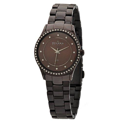 スカーゲン 腕時計 レディース 347SDXD 【送料無料】Skagen Women's 347SDXD Black Label Brown, Stainless Steel With Swarovski Elements Watchスカーゲン 腕時計 レディース 347SDXD